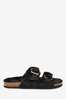 Black Two Band Faux Fur Slider Slippers