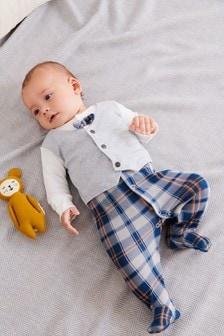 Grey Check Waistcoat Sleepsuit (0mths-2yrs)