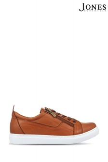 Jones Bootmaker Tan Mila Lace-Up Leather Trainers