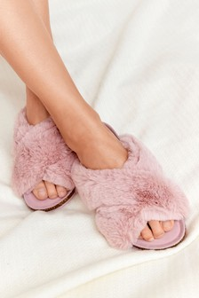 Pink Crossover Cork Faux Fur Slider Slippers