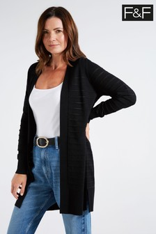 F&F Black Thick And Thin Cardigan