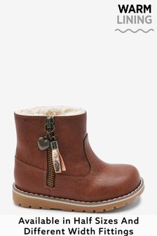 Tan Wide Fit (G) Warm Lined Ankle Boots