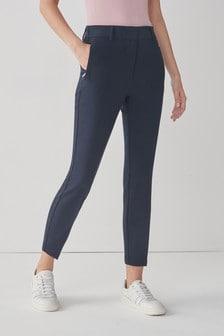 Navy Elastic Back Skinny Trousers