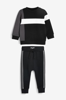 Mono Colourblock Crew Jumper And Joggers Set (3mths-7yrs)