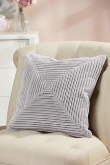 Grey Pleated Velvet Cushion