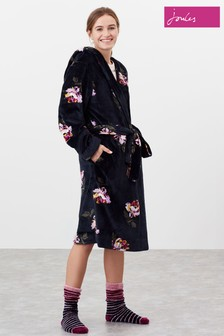 Joules Blue Rita Fluffy Dressing Gown