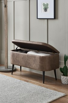 Monza Leather Effect Dark Brown Hamilton Ottoman Bench