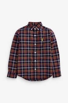 Orange/Navy Long Sleeve Check Oxford Shirt (3-16yrs)