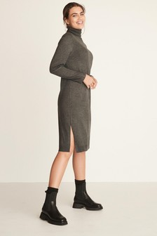 Charcoal Knitted Roll Neck Dress