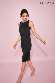 Khost Glamour Black Scuba Overlay Pencil Dress