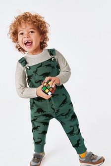 Teal Dino All Over Print Dungarees And T-Shirt Set (3mths-7yrs)