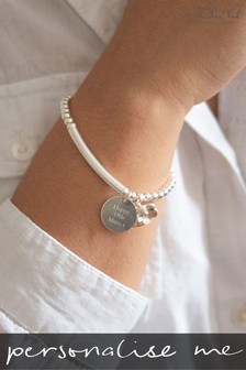 Personalised Sterling Silver Stretch Bracelet by Oh So Cherished