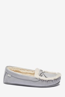 Grey Microsuede Moccasin Slippers