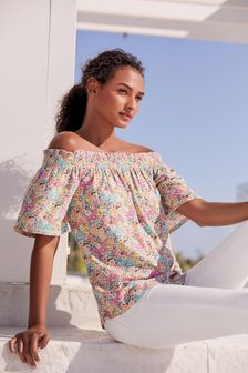 Floral Flute Sleeve Top With Linen