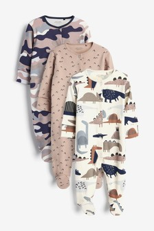 Camouflage 3 Pack Dinosaur Sleepsuits (0mths-2yrs)