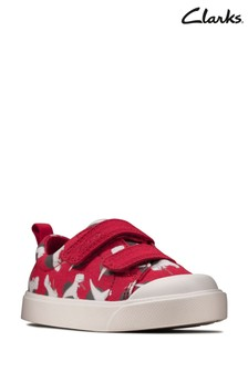 Clarks Red Interest City Bright T Canvas Shoes