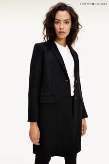 Tommy Hilfiger Black Essential Wool Blend Classic Coat