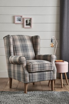 Versatile Check Nevis Grey Sherlock II Petite Armchair With Light Legs