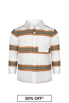 Burberry Kids Baby Boys White Cotton Shirt