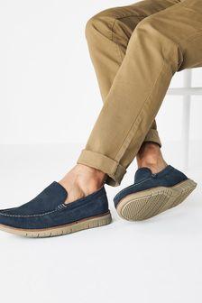 Navy Motion Flex Nubuck Leather Loafers