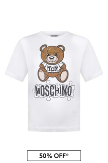 Kids White Cotton Teddy T-Shirt