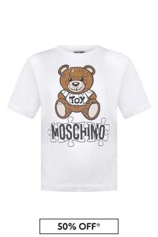 White Kids White Cotton Teddy T-Shirt