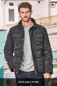 Black Shower Resistant Funnel Neck Puffer Jacket With Concealed Hood