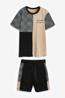 Mono Check Colourblock T-Shirt And Shorts Set (3-16yrs)