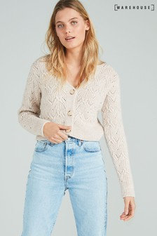 Warehouse Natural Stitchy Cropped Cardigan