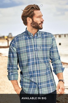 Green/Blue Regular Fit Lightweight Check Shirt