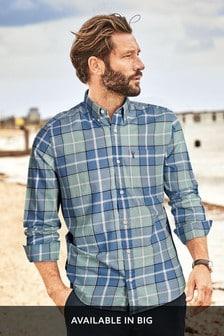 Green/Blue Regular Fit Lightweight Check Shirt