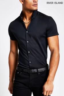 River Island Black Short Sleeve Muscle Poplin Shirt