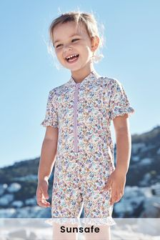Lilac/Ecru Ditsy Sunsafe Swim Suit (3mths-7yrs)