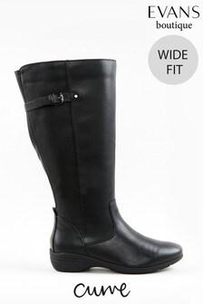 Evans Curve Wide Fit Black Faux Leather High Leg Boots
