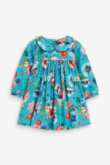 Teal Floral Woven Dress With Headband (0mths-2yrs)