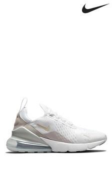 Nike White/Silver Air Max 270 Trainers