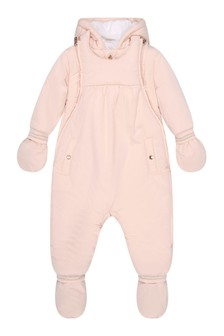 Baby Girls Pink Hooded Snowsuit