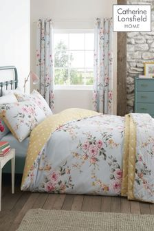 Catherine Lansfield Duck Egg Canterbury Duvet Cover and Pillowcase Set