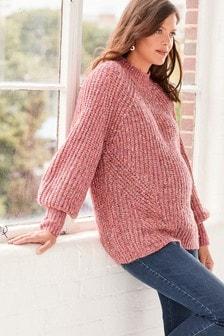 Pink Maternity Volume Sleeve Knit Jumper