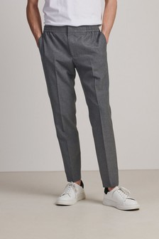 Grey Slim Fit Twill Trousers With Elasticated Waist