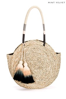 Mint Velvet Natural Mila Round Straw Bag