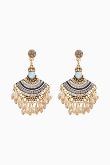 Gold Tone Beaded Drop Sparkle Fan Earrings