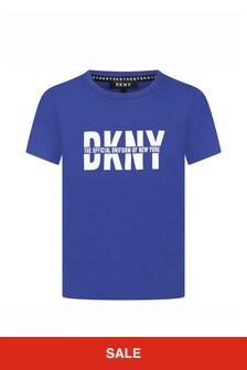 DKNY Boys Blue Cotton T-Shirt