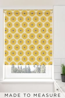 Retro Daisy Sunshine Yellow Made To Measure Roller Blind