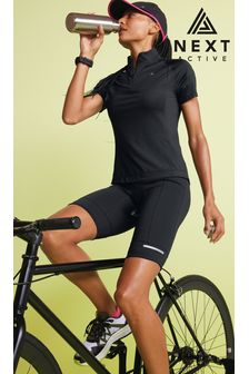 Black Zip Neck Cycling Top