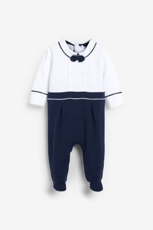 Blue/White Smart Sailor Sleepsuit (0mths-2yrs)