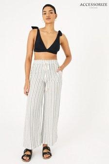Accessorize Black Textured Stripe Beach Trousers