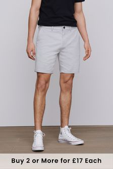 Light Grey Straight Fit Stretch Chino Shorts