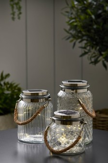 Set of 3 Solar Glass Lanterns