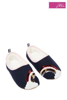 Joules Blue Felt Mule Appliqué Slippers
